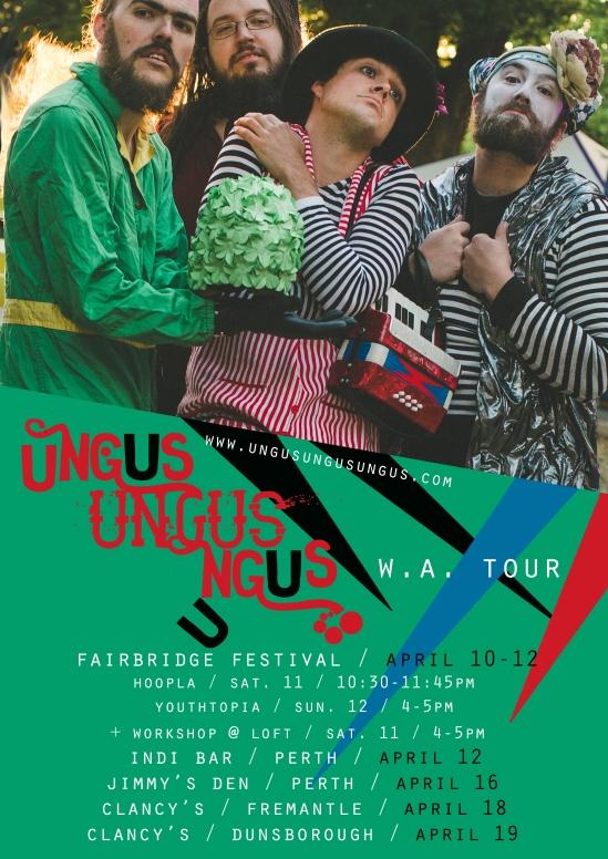 ungus 2015 tour poster PERTH alt green